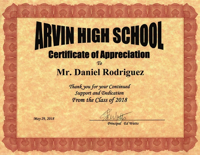 certificate of appreciation from arvin high school