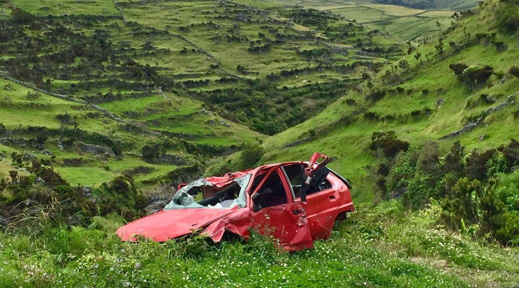 A smashed red car sits in an idyllic field